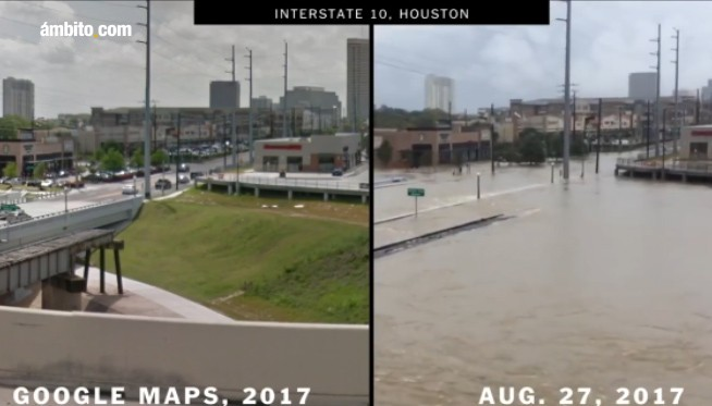 Antes y después del paso del huracán Harvey por Houston